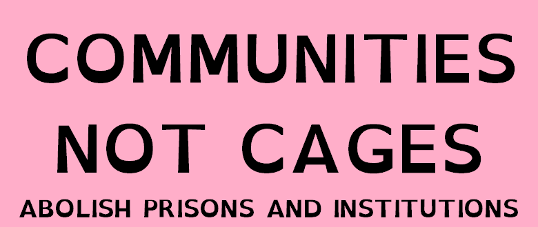 "image description: black text on a pink background that reads ""communities not cages. abolish prisons and institutions."" end description"